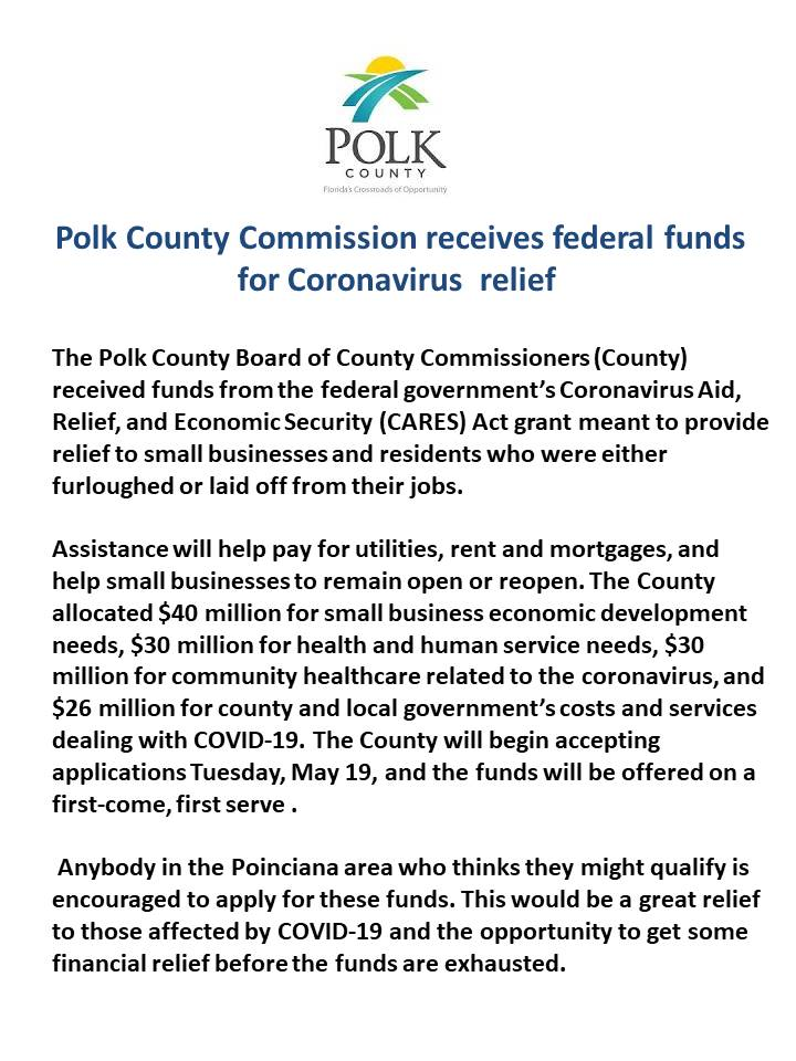 Polk County Corona Virus releif funds